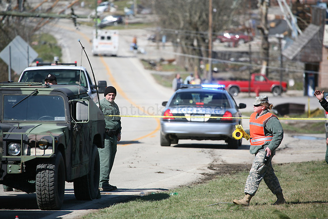 National Guardsmen block off an entrance into West Liberty, Ky. March 3, 2012. The guardsmen said the situation was still search-and-rescue oriented. Photo by Brandon Goodwin | Staff