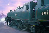 Train yard at Pickering on the North Yorkshire Moors Railway line. Moon and misty clouds composited with yard scene. Paint daub filter effect applied to locomotive.