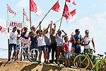 Fans wait for the race during Stage 2 of the 2018 Tour de France running 182.5km from Mouilleron-Saint-Germain to La Roche-sur-Yon, France. 8th July 2018. <br /> Picture: ASO/Alex Broadway | Cyclefile<br /> All photos usage must carry mandatory copyright credit (&copy; Cyclefile | ASO/Alex Broadway)