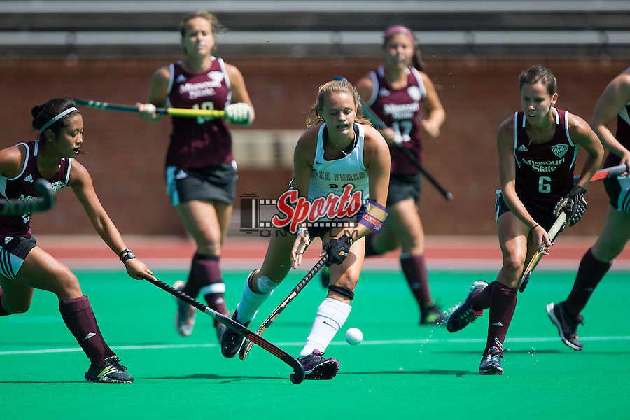 Jule Grashoff (24) of the Wake Forest Demon Deacons keeps the ball away from Jessi Pope (6) of the Missouri State Bears during first half action at Kentner Stadium on September 6, 2015 in Winston-Salem, North Carolina.  The Demon Deacons defeated the Bears 2-0.  (Brian Westerholt/Sports On Film)
