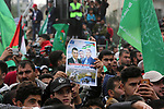 Palestinian Hamas supporters attend a rally marking the 31th anniversary of the founding of the Hamas movement, in Gaza city, December 16, 2018. Photo by Ashraf Amra