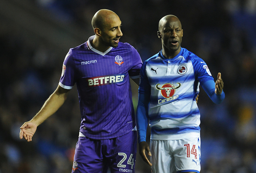 Bolton Wanderers' Karl Henry chats with Reading's Sone Aluko<br /> <br /> Photographer Kevin Barnes/CameraSport<br /> <br /> The EFL Sky Bet Championship - Reading v Bolton Wanderers - Tuesday 6th March 2018 - Madejski Stadium - Reading<br /> <br /> World Copyright &copy; 2018 CameraSport. All rights reserved. 43 Linden Ave. Countesthorpe. Leicester. England. LE8 5PG - Tel: +44 (0) 116 277 4147 - admin@camerasport.com - www.camerasport.com