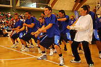 Fraser High School perform a haka before the game during the NZ Secondary Schools Basketball Championships match between Fraser High School and St Patricks College at Arena Manawatu, Palmerston North, New Zealand on Saturday 4 October 2008. Photo: Dave Lintott / lintottphoto.co.nz