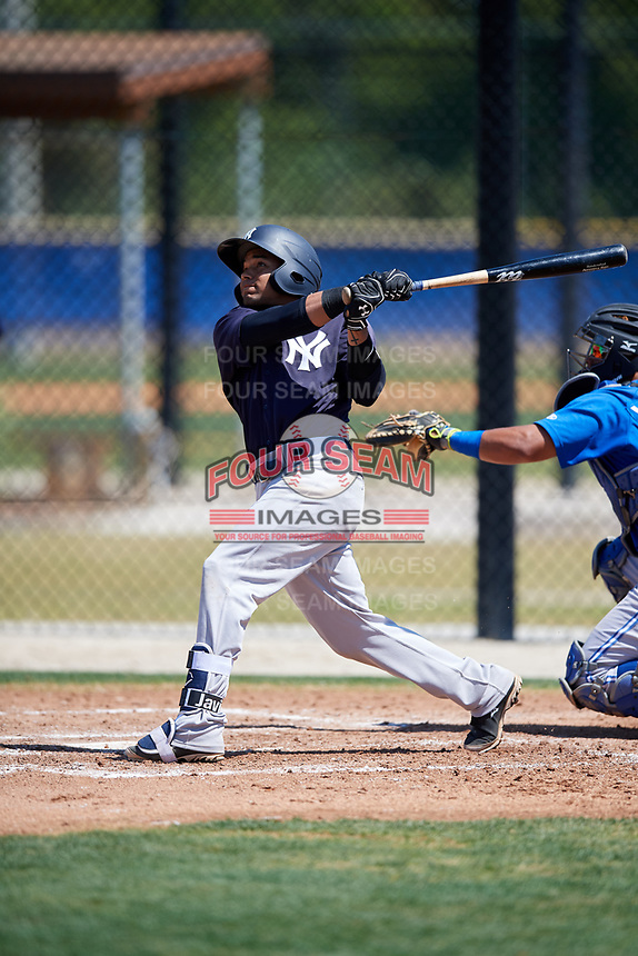 New York Yankees Robert Javier (16) during a Minor League Spring Training game against the Toronto Blue Jays on March 18, 2018 at Englebert Complex in Dunedin, Florida.  (Mike Janes/Four Seam Images)