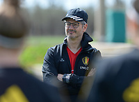 20180301 - LARNACA , CYPRUS :  Belgian doctor Kris Vanderlinden pictured during a Matchday -1 training from The Belgian Red Flames prior to their game against Spain , on Thursday 1 March 2018 at the Alpha Sports Grounds in Larnaca , Cyprus . This will be the second game in group B for Belgium during the Cyprus Womens Cup , a prestigious women soccer tournament as a preparation on the World Cup 2019 qualification duels. PHOTO SPORTPIX.BE | DAVID CATRY