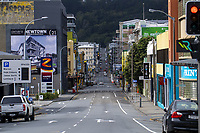 Vivian Street at 11.30am on Friday during the COVID-19 pandemic lockdown in Wellington, New Zealand on Friday, 3 April 2020. Photo: Dave Lintott / lintottphoto.co.nz