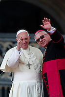 Papa Francesco col vescovo ausiliare di Lublino Artur Mizinski al termine dell'udienza generale del mercoledi' in Piazza San Pietro, Citta' del Vaticano, 30 aprile 2014.<br /> Pope Francis and Lublin's auxiliary bishop Artur Mizinski wave at the end of his weekly general audience in St. Peter's Square at the Vatican, 30 April 2014.<br /> UPDATE IMAGES PRESS/Isabella Bonotto<br /> <br /> STRICTLY ONLY FOR EDITORIAL USE