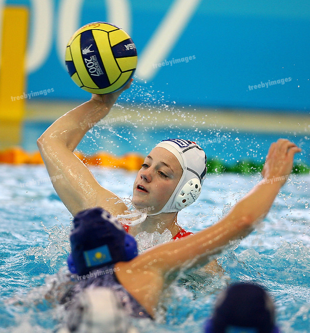 12th Fina World Swimming Championships, Netherlands had a easy win over Khazikstan in the Womens water Polo Lefke Van Belkum scores a goal.