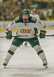 20 February 2016: University of Vermont Catamount Forward Craig Puffer, a Freshman from New Canaan, CT, prepares to take a face-off during the second period against the Boston College Eagles at Gutterson Fieldhouse in Burlington, Vermont. The Eagles defeated the Catamounts 4-1 in the second game of their weekend series. Mandatory Credit: Ed Wolfstein Photo *** RAW (NEF) Image File Available ***