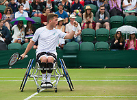 Alfie Hewett (2) with partner Gordon Reid (obscured) celebrates a point during their Gentlemen's Wheelchair Doubles Final on Court 3 against Stephane Houdet and Nicolas Peifer (1) of France<br /> <br /> Photographer Ashley Western/CameraSport<br /> <br /> Wimbledon Lawn Tennis Championships - Day 12 - Saturday 15th July 2017 -  All England Lawn Tennis and Croquet Club - Wimbledon - London - England<br /> <br /> World Copyright &not;&copy; 2017 CameraSport. All rights reserved. 43 Linden Ave. Countesthorpe. Leicester. England. LE8 5PG - Tel: +44 (0) 116 277 4147 - admin@camerasport.com - www.camerasport.com
