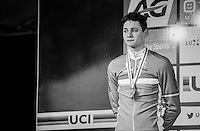 An emotional Mathieu Van der Poel (NED/Beobank-Corendon) during the podium ceremony; disapointed with his 2nd place<br /> <br /> Men's Race<br /> UCI 2017 Cyclocross World Championships<br /> <br /> january 2017, Bieles/Luxemburg