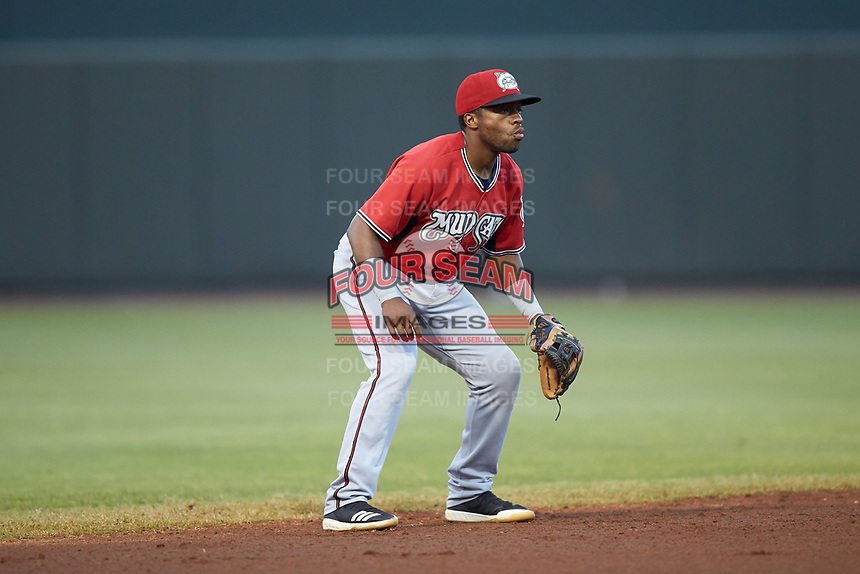 Carolina Mudcats shortstop Devin Hairston (6) on defense against the Winston-Salem Dash at BB&T Ballpark on June 1, 2019 in Winston-Salem, North Carolina. The Dash defeated the Mudcats 5-4 in game two of a double header. (Brian Westerholt/Four Seam Images)