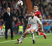 Real Madrid´s Spanish defense Daniel Carvajal during the Copa del Rey soccer match between Real Madrid and Sevilla played at the Santiago Bernabéu stadium in Madrid, on January 4th 2017.