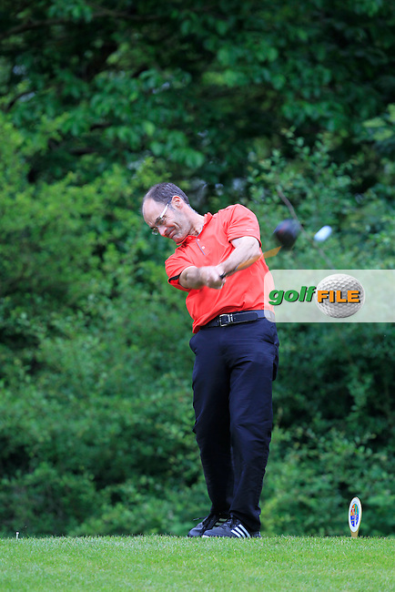 Diarmaid Linehan (Muskerry) on the 13th tee during Round 2 of the Irish Mid-Amateur Open Championship at New Forest on Saturday 20th June 2015.<br /> Picture:  Thos Caffrey / www.golffile.ie