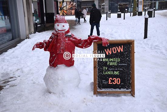 Snow, Norwich Feb 2018 UK. Virgin store