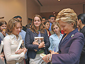 """Washington, D.C. - September 21, 2004 -- United States Senator Hillary Rodham Clinton (Democrat of New York), right, autographs her best-selling book for students after speaking at the Center for American Progress seminar titled """"Transforming the Reserve Component for the 21st Century"""" at Georgetown University in Washington, D.C. on September 21, 2001.  In her remarks, Senator Clinton criticized the Bush Administration for a lack of resources for the National Guard, even in the face of their expanded role in national security and homeland security efforts..Credit: Ron Sachs / CNP.(RESTRICTION: NO New York or New Jersey Newspapers or newspapers within a 75 mile radius of New York City)"""