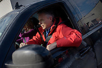 Former Utah governor Jon Huntsman drives from his campaign headquarters to another event in Manchester, New Hampshire, on Jan. 7, 2012.  Huntsman is seeking the 2012 Republican presidential nomination.