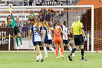 Houston, TX - Saturday July 15, 2017: Andressa Cavalari Machry watches her ball go in the goal during a regular season National Women's Soccer League (NWSL) match between the Houston Dash and the Washington Spirit at BBVA Compass Stadium.