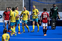 2nd February 2020; Sydney Olympic Park, Sydney, New South Wales, Australia; International FIH Field Hockey, Australia versus Great Britain; Dylan Wotherspoon of Australia is congratulated by teammates after scoring to make it 1-0