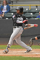 Lansing Lugnuts third baseman Vladimir Guerrero Jr. (27) swings during a game against the Clinton LumberKings at Ashford University Field on May 9, 2017 in Clinton, Iowa.  The Lugnuts won 11-6.  (Dennis Hubbard/Four Seam Images)