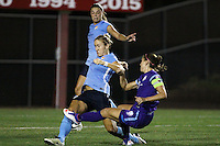 Piscataway, NJ - Wednesday Sept. 07, 2016: Erica Skroski, Kristin Grubka, Alex Morgan during a regular season National Women's Soccer League (NWSL) match between Sky Blue FC and the Orlando Pride FC at Yurcak Field.