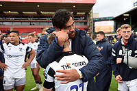 Steven Luatua of Bristol Bears hugs team-mate Harry Randall after the match. Gallagher Premiership match, between Leicester Tigers and Bristol Bears on April 27, 2019 at Welford Road in Leicester, England. Photo by: Patrick Khachfe / JMP