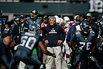 Seattle Seahawks head coach Pete Carroll watch his defensive unit during pre-game warmups before kickoff against the Arizona Cardinals at CenturyLink Field in Seattle, Washington September 25, 2011.  The Seahawks beat the Cardinals 13-10.  ©2011 Jim Bryant Photo. All Rights Reserved.