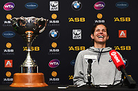 Julia Goerges from Germany talks to media after winning the ASB Classic WTA Women's Tournament Day 7 Singles Final. ASB Tennis Centre, Auckland, New Zealand. Sunday 7 January 2018. ©Copyright Photo: Chris Symes / www.photosport.nz
