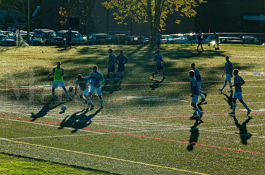 High school soccer practice, USA