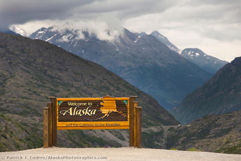 Alaska - Canada boundary sign along the Klondike highway between Alaska USA and British Columbia, Canada.