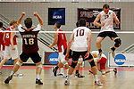 29 APR 2012:  Keaton Pieper (12) of Springfield College celebrates after defeating Carthage College during the Division III Men's Volleyball Championship held at Blake Arena in Springfield, MA.  Springfield defeated Carthage 3-0 to win the national title.  Jessica Rinaldi/NCAA Photos
