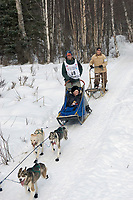 Bill Pinkham w/Iditarider on Trail 2005 Iditarod Ceremonial Start near Campbell Airstrip Alaska SC