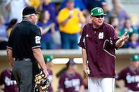 Mississippi State coach John Cohen argues with the umpire during the NCAA baseball game against the LSU Tigers on March 17, 2012 at Alex Box Stadium in Baton Rouge, Louisiana. The 10th-ranked LSU Tigers beat #21 Mississippi State, 4-3. (Andrew Woolley / Four Seam Images).