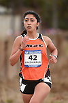 November 1, 2014; Sunnyvale, CA, USA; Pacific Tigers runner Myra Lakdawala (42) competes during the WCC Cross Country Championships at Baylands Park.