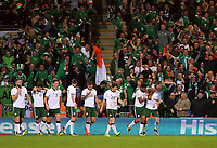 James McClean of Ireland (R) celebrates his goal during the FIFA World Cup Qualifier Group D match between Wales and Republic of Ireland at The Cardiff City Stadium, Wales, UK. Monday 09 October 2017