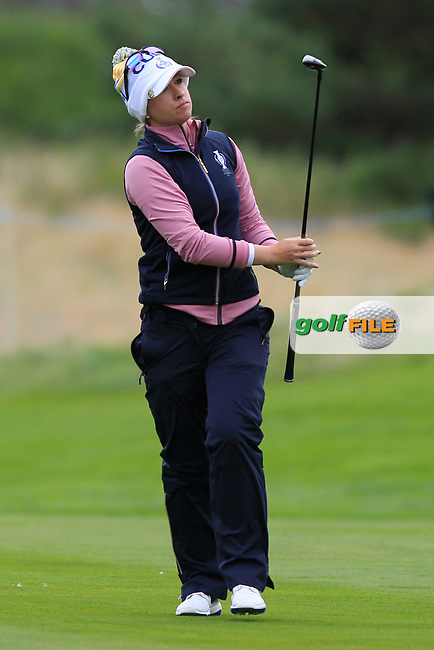 Jodi Ewart Shadoff of Team Europe on the 2nd fairway during Day 2 Fourball at the Solheim Cup 2019, Gleneagles Golf CLub, Auchterarder, Perthshire, Scotland. 14/09/2019.<br /> Picture Thos Caffrey / Golffile.ie<br /> <br /> All photo usage must carry mandatory copyright credit (© Golffile | Thos Caffrey)