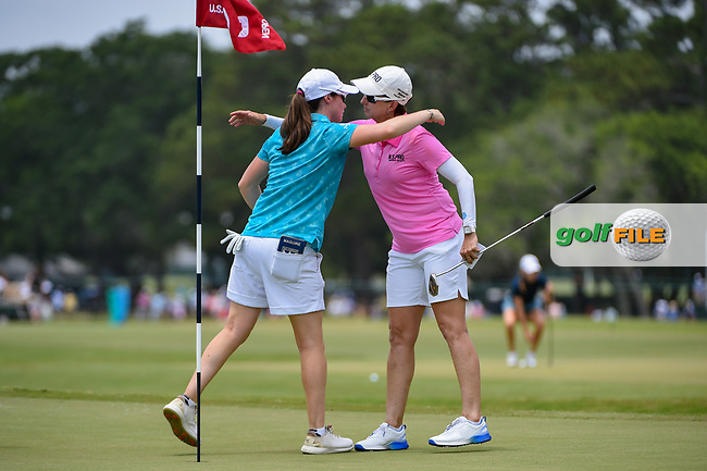 Leona Maguire (IRL) hugs Karrie Webb (AUS) following round 2 of the 2019 US Women's Open, Charleston Country Club, Charleston, South Carolina,  USA. 5/31/2019.<br /> Picture: Golffile | Ken Murray<br /> <br /> All photo usage must carry mandatory copyright credit (© Golffile | Ken Murray)