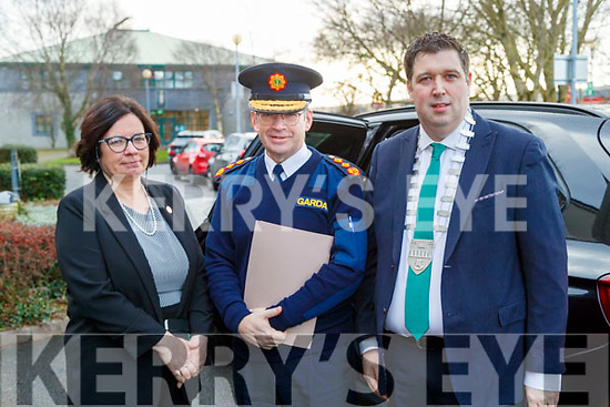Moira Murrell CEO of Kerry County Council Garda Commissioner Drew Harris and Cllr Niall Kelleher, Mayor of Kerry  at the Joint Policing Committee meeting at County Buildings, Tralee on Friday.