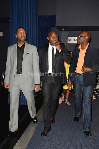 "MIAMI, FL - MAY 26: Jimmy Jean Louis (C) with member of the Haitian Consulate attend red carpet and private screening of his new movie ""Toussaint L'Overture"" at Little Haiti Cultural Center in on May 26, 2012 in Miami, Florida.  (photo by: MPI10/MediaPunch Inc.)"