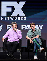 """BEVERLY HILLS - AUGUST 6: (L-R) Cast Member Andy Serkis and Joe Alwyn onstage during the """"A Christmas Carol"""" panel at the FX Networks portion of the Summer 2019 TCA Press Tour at the Beverly Hilton on August 6, 2019 in Los Angeles, California. (Photo by Frank Micelotta/FX Networks/PictureGroup)"""