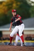 Batavia Muckdogs relief pitcher Dustin Beggs (47) during a game against the West Virginia Black Bears on June 30, 2016 at Dwyer Stadium in Batavia, New York.  Batavia defeated West Virginia 4-3.  (Mike Janes/Four Seam Images)