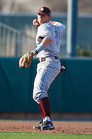 Casey McCollum (2) in the infield during the NCAA matchup between the University of Arkansas-Little Rock Trojans and the University of Oklahoma Sooners at L. Dale Mitchell Park in Norman, Oklahoma; March 11th, 2011.  Oklahoma won 11-3.  Photo by William Purnell/Four Seam Images
