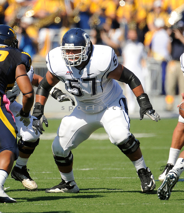 MOE PETRUS, of the Connecticut Huskies, in action during UConn's game against The West Virginia Mountaineers on October 8, 2011 at Milan Puskar Stadium in Morgantown, WV. West Virginia beat UConn 43-16.