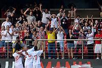 SÃO PAULO, SP, 17 DE JUNHO DE 2012 - CAMPEONATO BRASILEIRO - SÃO PAULO x ATLÉTICO MG: Luis Fabiano e Lucas comemoram gol do Sao Paulo durante partida São Paulo x Atlético Mineiro, válida pela 5ª rodada do Campeonato Brasileiro de 2012 no Estádio do Morumbi. FOTO: LEVI BIANCO - BRAZIL PHOTO PRESS