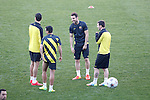 FC Barcelona´s Pedro Rodriguez, Cesc Fabregas an Leo Messi during a training at the Vicente Calderon stadium in Madrid, Spain. Atletico de Madrid will face FC Barcelona in the second leg quarterfinal Champions League soccer match.  April 8, 2014. (ALTERPHOTOS/Victor Blanco)
