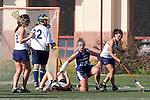 Santa Barbara, CA 02/13/10 - Jessie Smith (BYU # 23), Erika Lee (UC Davis # 5), Nicole Crayton (UC Davis # 3) and Miriam Kolni (UC Davis # 32) in action during the BYU-UC Davis game at the 2010 Santa Barbara Shoutout, UC Davis defeated BYU 9-7.