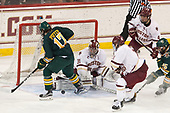 Craig Puffer (UVM - 17), Joe Woll (BC - 31), Connor Moore (BC - 7), Michael Kim (BC - 4), Matt Alvaro (UVM - 25) - The visiting University of Vermont Catamounts tied the Boston College Eagles 2-2 on Saturday, February 18, 2017, Boston College's senior night at Kelley Rink in Conte Forum in Chestnut Hill, Massachusetts.Vermont and BC tied 2-2 on Saturday, February 18, 2017, Boston College's senior night at Kelley Rink in Conte Forum in Chestnut Hill, Massachusetts.