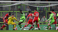 Callum Brittain of MK Dons clears the ball out of defence during Forest Green Rovers vs MK Dons, Caraboa Cup Football at The New Lawn on 8th August 2017