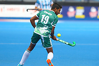 Umair Sarfraz of Pakistan controls the ball during the Hockey World League Quarter-Final match between Argentina and Pakistan at the Olympic Park, London, England on 22 June 2017. Photo by Steve McCarthy.