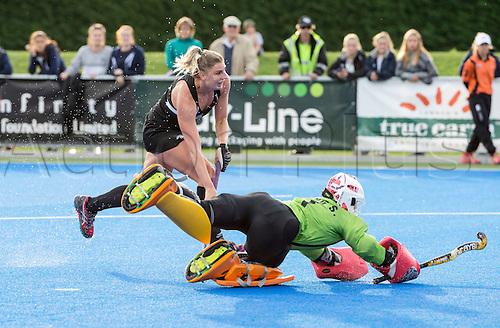 07.04.2016. Unison Hockey Turf, Hastings, New Zealand. Festival of Hockey New Zealand versus Korea. Olivia Merry puts the ball past the keeper to score.
